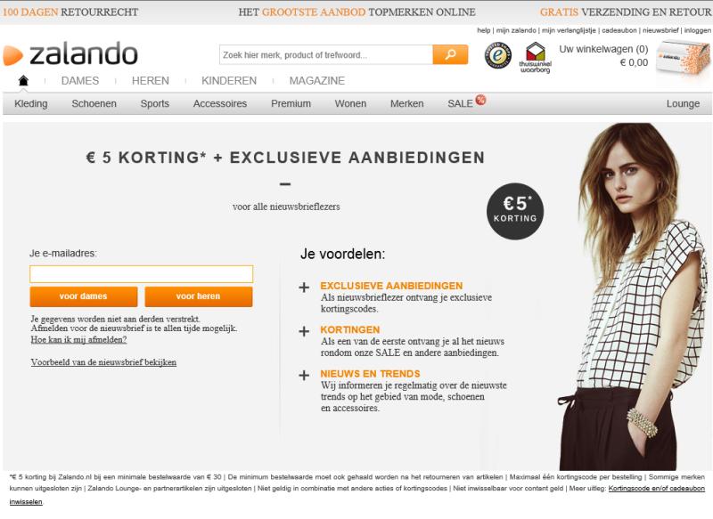 Voorbeeld van een Fastlane aanmeld formulier op Zalando