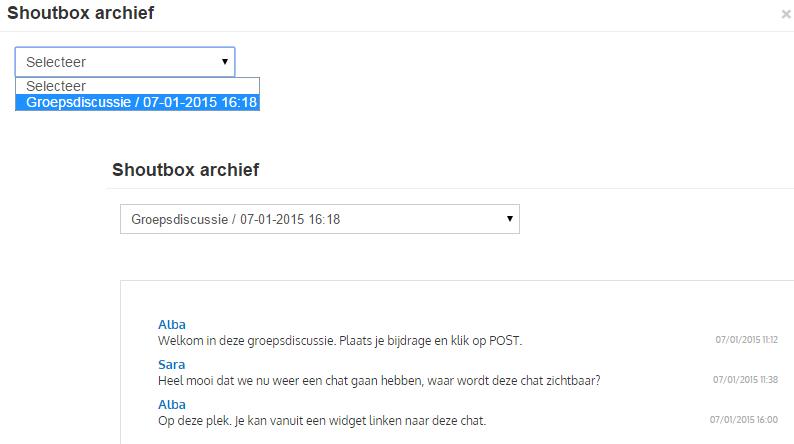 Chat archief benaderen
